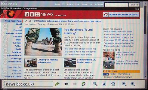 Nokia 770 - BBC News site