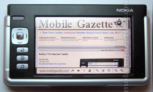 Nokia 770 Displaying Mobile Gazette