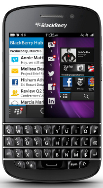 BlackBerry Q10 running BlackBerry 10 OS
