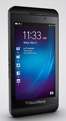 BlackBerry Z10 running BlackBerry 10 OS