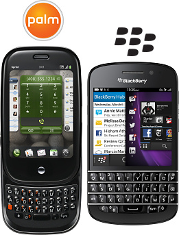 Palm Pre and BlackBerry Q10