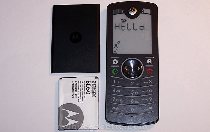 Motorola FONE F3 with battery removed