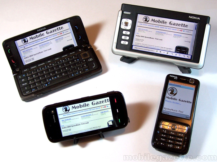 Nokia 5800 XpressMusic Web browser compared with other Nokias