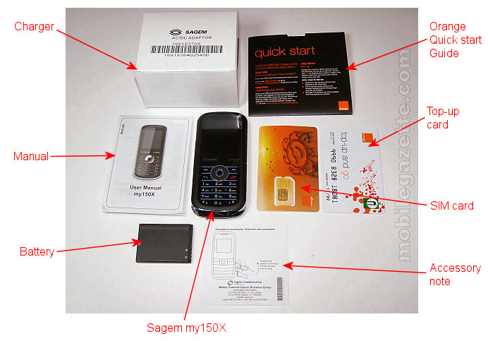 Sagem my150X box contents